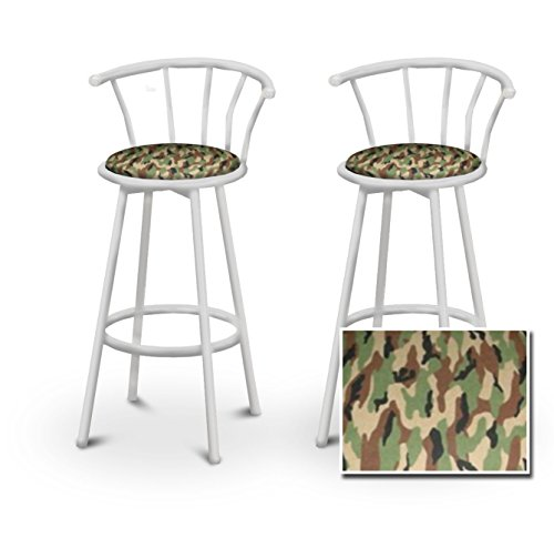 2 camouflage specialty custom white barstools with