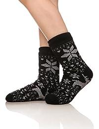Women's Fleece-Lined Non-skid bottoms Cozy Thick Winter Slipper Socks