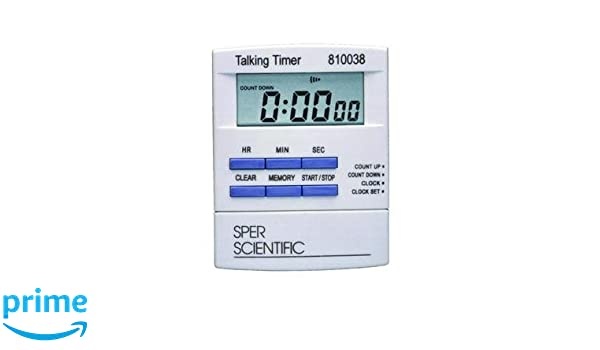 Sper Scientific 810038C Talking Lab Countdown Timer, 0 75