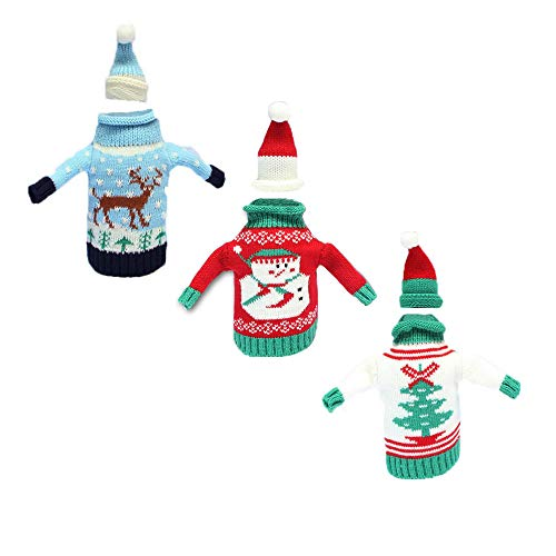 3 Pieces Christmas Wine Bottle Sweater Ugly Christmas Sweater Santa Bottle Covers for Christmas Party Holiday Decorations (Wine Sweater)