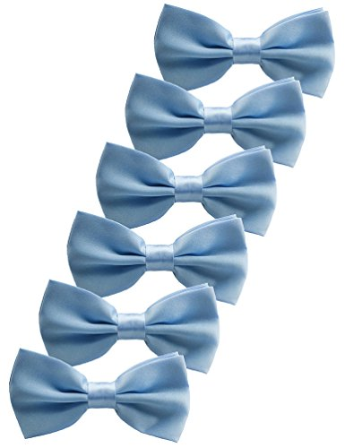 Udres 6 Pack Solid Bow Tie Satin Pre-tied Bowtie for Wedding Party (One Size, Light Blue)