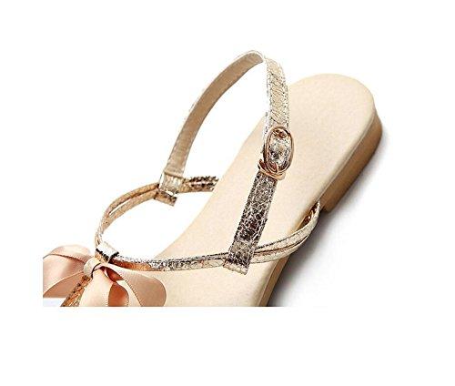 HAOHE Sandalias De La Mujer Primavera Verano Pu Peep Clip Toe Mariposa Nudo Decoración Oficina Y Carrera Vestido Casual Playa Plana Talón Sandalias Zapatos Gold