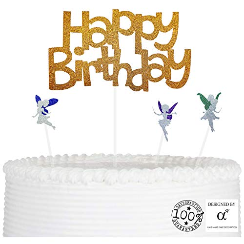 Happy Birthday Cake Topper - Premium Gold Glitter - with 3 Glitter Tinker bells, Party Cake Decoration, Party Supply with Premium Glitters and Acrylic ()