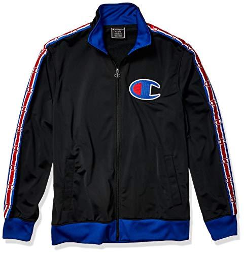 Jersey Track Jacket - Champion LIFE Men's Track Jacket, Black/SURF The Web, X-Large