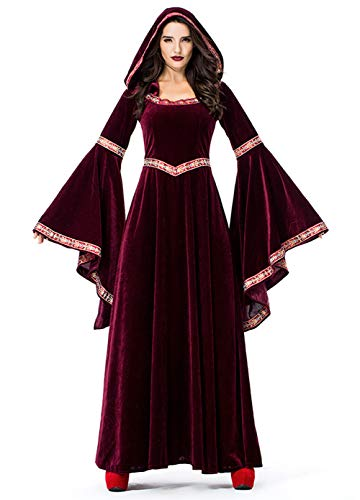 H&ZY Women's Wine Red Vampire Halloween Costume Medieval Court Retro Robe Dress Adult Medium ()