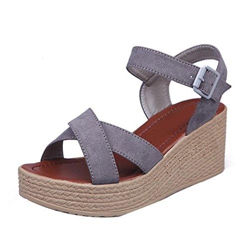 Webla Mujeres Verano Cruz Correa Flip Flops Sandalias Wedge Sandalias Plataforma Zapatos de playa Gris