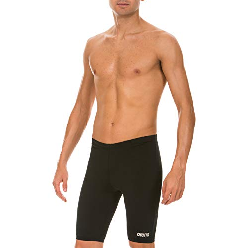 Arena Men's Board Race Polyester Solid Jammer Swimsuit - Black/Metallic Silver,30