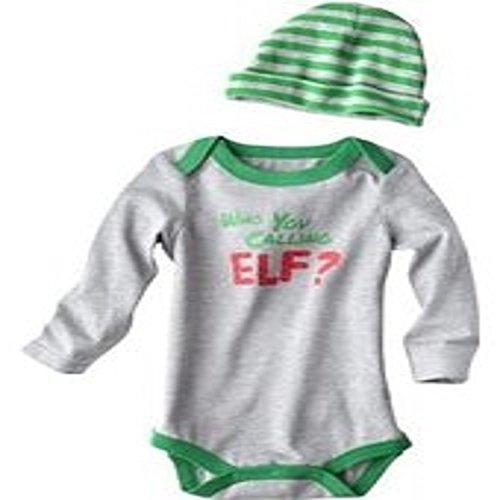 Cherokee Baby-boys Who You Calling Elf Onesie Christmas Bodysuit & Hat Set Newborn ()