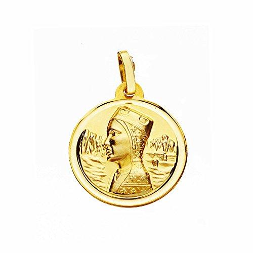 Médaille pendentif Montserrat Virgin 18k 18mm en or. lunette lisse [AA2562]