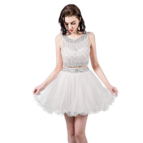 7918121ed59d TANGFUTI Two Piece Homecoming Dresses Short Beaded Tulle Formal Prom Gowns  010 White US4
