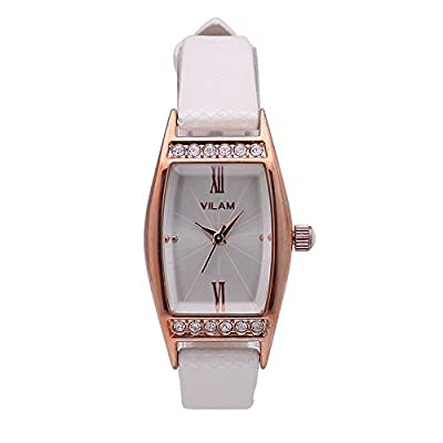 Women's White Leather Rectangular Quartz Watches With Gold Case And Rhinestone Deco