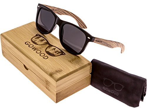 Zebra Wood Wayfarer Sunglasses For Men & Women with Polarized - Wood Sunglasses Recycled