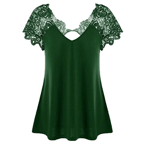 Womens T-Shirt Fashion Tops V-Neck Plus Size Lace Short Sleeve Trim Cutwork -