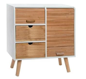 Cajonera en blanco y madera de bambú, estilo nórdico. 3 ...