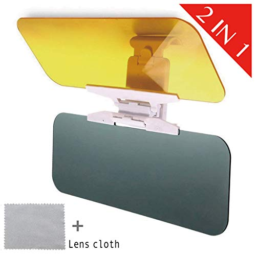 L.L.S Anti-Glare Sun Visor Car Windshield - 2019 Anti-Dazzle UV-Filtering Protection Windshield Extender Driving Visor Day Night Universal Sunshade Mirror Goggles Shield Premium Quality Tinted