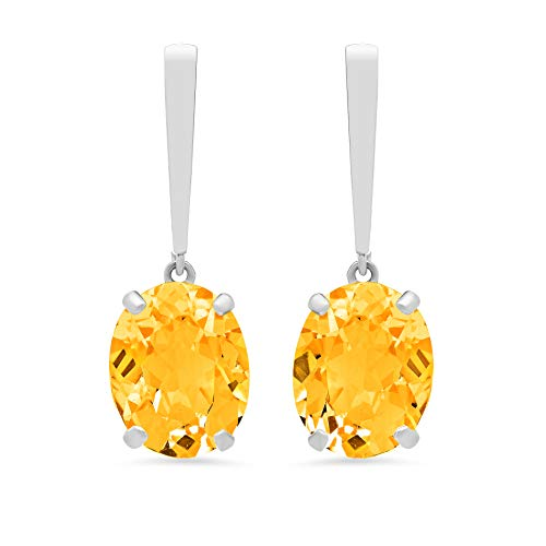 14k White Gold Solitaire Oval-Cut Citrine Drop Earrings (10x8mm)