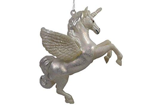 Pegasus Winged Unicorn Greek Mythology Horse White Glass Christmas Ornament
