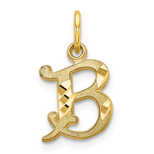 14K Yellow Gold Satin Letter B Initial Charm 17x10mm ()
