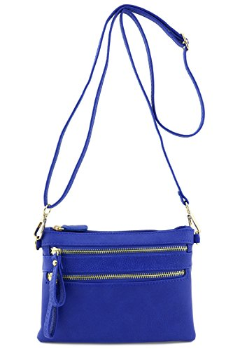 Multi Zipper Pocket Small Wristlet Crossbody Bag (Royal Blue) (Blue Cross Body Bag)