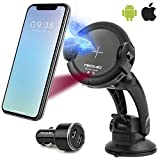 NEQUIO X Fast Wireless Charger - 2 in 1 - Charging Car Mount - Premium Dashboard, Air Vent or Windshield Phone Holder with IR Sensor for iPhone XS/XS Max, X/XR, 8/8 Plus (7,5W), Samsung Galaxy S10/S10+ S9/S9+, S8/S8+, S7/S7 Edge+, S6/S6 Edge+, Note 9 (10W) & other Qi Smartphones (UPGRADED VERSION)