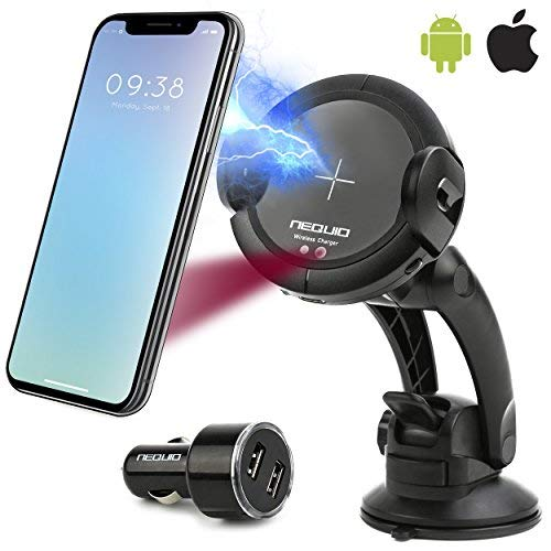 NEQUIO X Fast Wireless Charger - 2 in 1 - Charging Car Mount - Premium Dashboard, Air Vent or Windshield Phone Holder with IR Sensor for iPhone XS/XS Max, X/XR, 8/8 Plus (7,5W), Samsung Galaxy S10/S10+ S9/S9+, S8/S8+, S7/S7 Edge+, S6/S6 Edge+, Note 9 (10W) & other Qi Smartphones (UPGRADED VERSION) ()