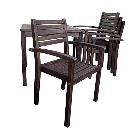 DTY Outdoor Living Leadville Square 5-Piece Eucalyptus Dining Set, Espresso Finish - FOREST STEWARDSHIP COUNCIL CERTIFIED: Go Green! Our FSC Eucalyptus is sustainable, eco-friendly wood and a renewable resource from well managed forests that are Forest Stewardship Council certified BUILT TO LAST: Created from 100% eucalyptus this dining set is naturally weather resistant and will stand up to the elements, perfect for any climate. Its high oil content repels bugs and helps protect it from moisture, UV rays, decay and rot. STYLISH DESIGN: Casual yet stylish this beautiful 5-piece square dining set is sure to make your summer gatherings a success. The set features a table and 4 stacking arm chairs for easy storage. - patio-furniture, dining-sets-patio-funiture, patio - 416NuF8uQaL. SS570  -