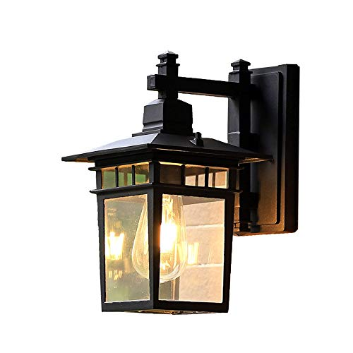 Magosca American Advanced Black Outdoor Wall Lamp Retro Transparent Glass Wall Light Creative Wrought Iron Anti-Rust Wall Sconce Balcony Corridor Decorative E27 Wall Lantern