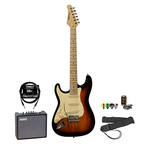 Sawtooth Left Handed ST Style Electric Guitar Sunburst w/Vintage White Pickguard with Lesson, ChromaCast Pick Sampler, Cable, Tuner, Strap and Sawtooth Amp