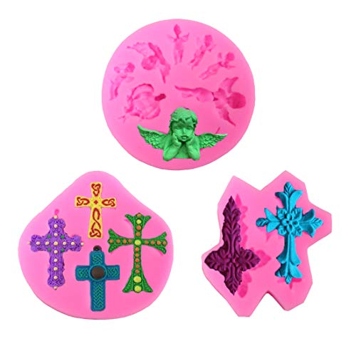 Cross Fondant Mold Angel Mold Cross Chocolate Candy Silicone Mold Cross for Cake Decorating Cupcake Toppers Clay  Baking Tools