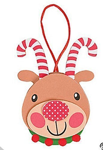(12 Foam Candy Cane Antler Reindeer Ornament Craft Kit/Christmas/Ornament/Craft)
