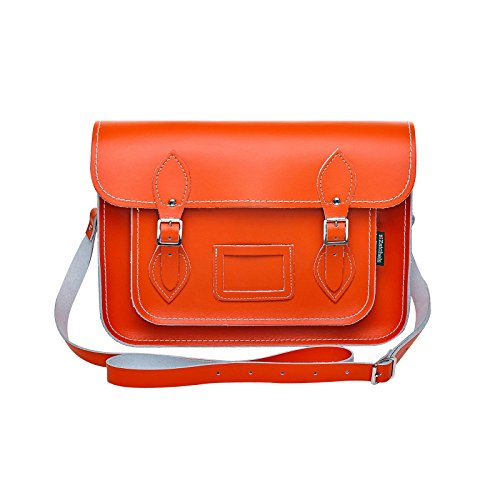 à Mag Fabrication la cuir Sac Orange Dots britannique Femme cartable main Zatchels en 8Xqgdgz