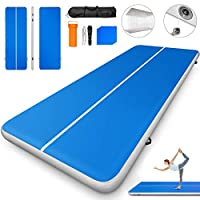 Happybuy 10ft 13ft 16ft 20ft 23ft 26ft 30ft Air Track 8 inches Airtrack Inflatable Air Track Tumbling Mat for Gymnastics Martial Arts Cheerleading Tumble Track Without Pump Blue 17ft 80x8in