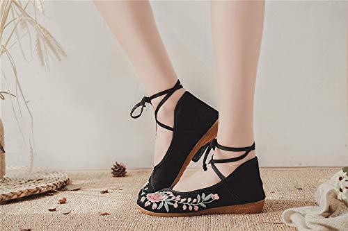 Ethnique Danse Brodées Chaussures Tissu En Pour Femmes De Espadrilles Black chaussures OBw1YqwU