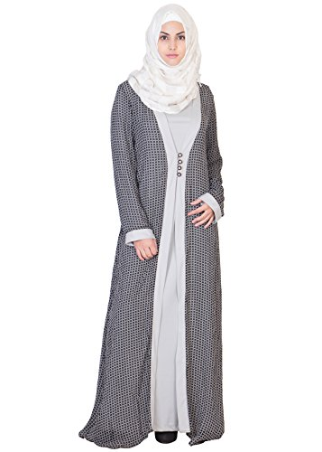 Haya Classic Kimono Abaya – Double Layered with soft printed Georgette Jacket HC-0008A