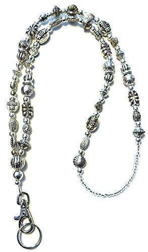 SLIM Style Fashion Women's Beaded Lanyard 34', Breakaway and Non breakaway available, For Keys, Badge Holder (Slim Silver - NON Breakaway (Stronger))