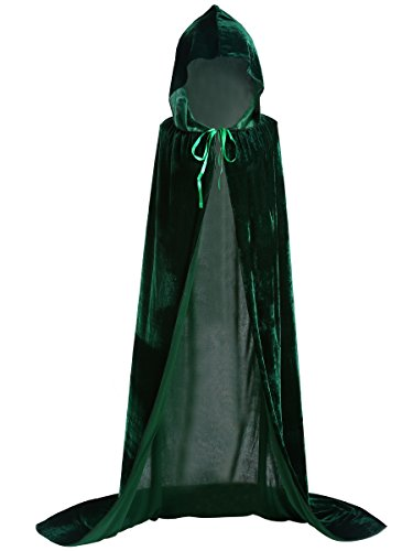 Adult Poncho Green M & M's Costumes (Unisex Halloween Cloak Hoodie Velvet Vampire Witch Devil Cape Cosplay Costume Green 51