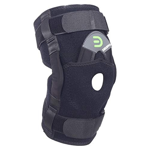 DISUPPO Hinged Knee Brace Support with Frosted Surface, Adjustable Open Patella Stabilizer for Sports Trauma, Sprains, Arthritis, ACL, Meniscus Tears, Ligament Injuries (Hinges Removable, Large)