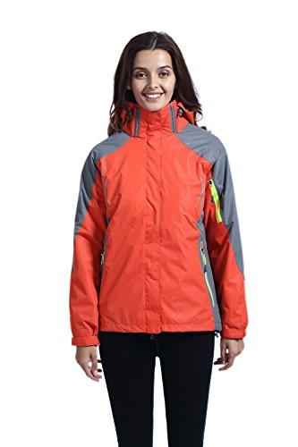 Leajoy Women's Waterproof Windproof Hooded Rain Jacket Outdoor Insulated Shell (Orange Thermal Lined Zipper Hooded)