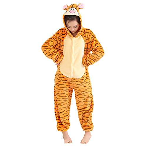 Broadmix Women's Anime Cosplay Adult Pajamas Onesie Homewear Size M Tiger (Orange Onesie For Adults)