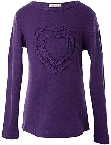 Ipuang Little Girls' Heart-Shaped Long Sleeve T-Shirt 6 Purple