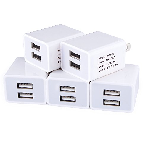 Charger Base, USB Charging Cube, FiveBox 2.1Amp Dual Port USB Wall Charger Adapter Charger Brick Plug Phone Charger Block Box for iPhone X/8/7/6/6S Plus, iPad, Samsung Galaxy S8 S7, HTC-White/5-Pack