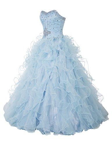 Bbonlinedress Vestido De Princesa Quinceañera Fiesta Largo Sin Tirantes De Organdí Lavanda