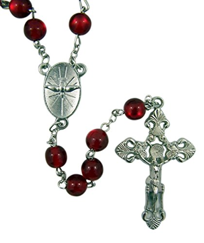 - Religious Confirmation Red Acrylic Bead Rosary with Oval Holy Spirit Centerpiece, 17 Inch