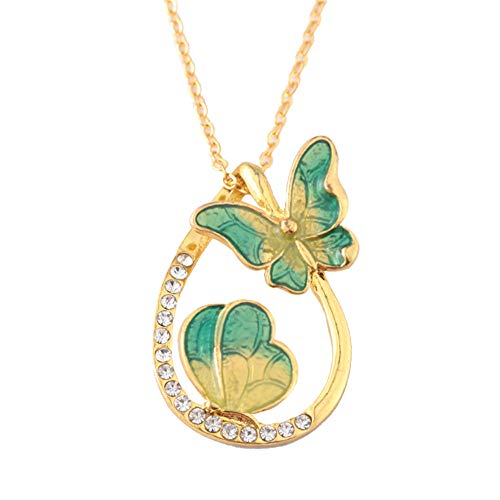 Orcbee  _Colourful Butterfly Diamond Pendant Necklace Water Drop Shaped Clavicle Chain Gift (A)