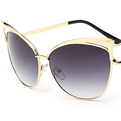 BVAGSS Fashion Hollow Cat Eye Mirrored Lens Metal Frame Women Sunglasses WS002(Gold Frame, Gray (Gray Cats Eye)