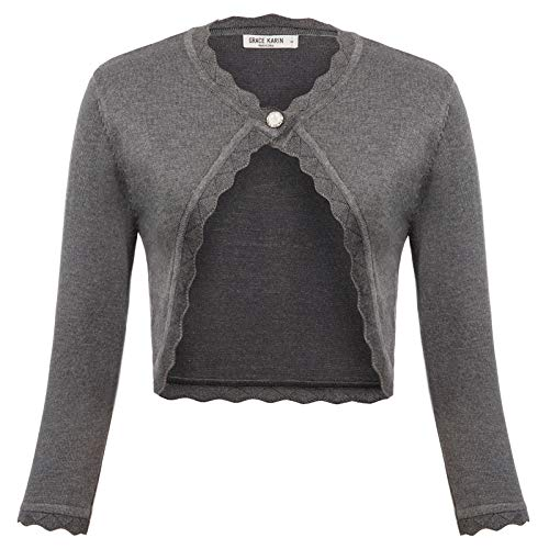 GRACE KARIN Women's Classic 3/4 Sleeve Open Front Knit Cropped Bolero Cardigan (Gray, Large)