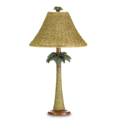 VERDUGO GIFT 37989 Rope Style Light Tropical Decor Palm Tree Rattan LAMP, 13.5