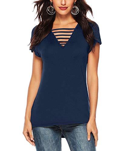 (Women's Summer Deep V Neck Criss Cross Short Sleeve T Shirt Tunics Tops Blouses(Navy Blue,M))