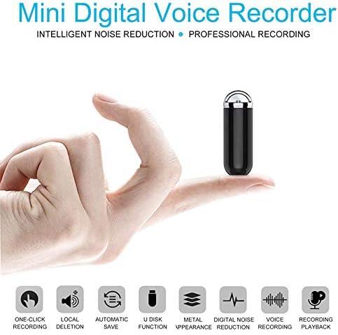 HLGQ Mini Voice Recorder, mit Rauschunterdrückung Mikrofon Und One-Key-Aufnahme, 16 GB, 20 Stunden Aufnahmezeit, Auto Save, Geeignet für Interview Course Meeting