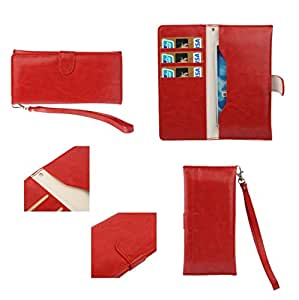 DFV mobile - Cover premium synthetic leather with card case and close by magnet for > htc desire 300, color rojo